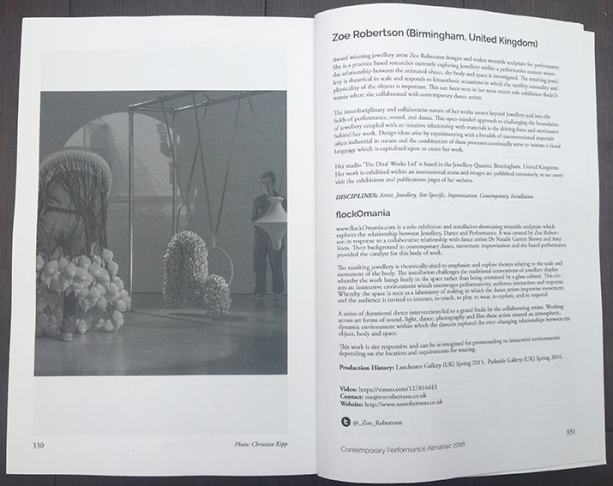 Contemporary Performance Almanac 2016 - flockOmania - Zoe Robertson - Jewellery Artist