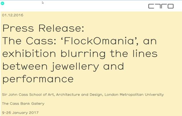 Press release The Cass: flockOmania