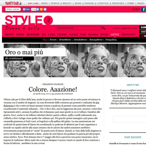 Colore.Aaazione on Style it, Vanity Fair April 2013