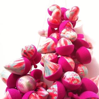 Suspended in pink - Zoe Robertson - jewellery artist - pixelmania series