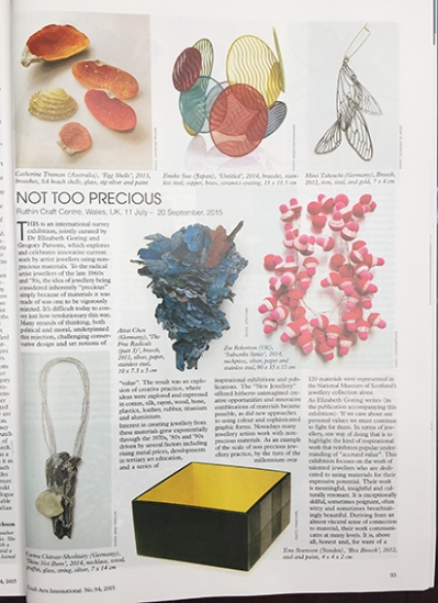 Zoe Robertson for Not Too Precious in Craft Art International issue 94