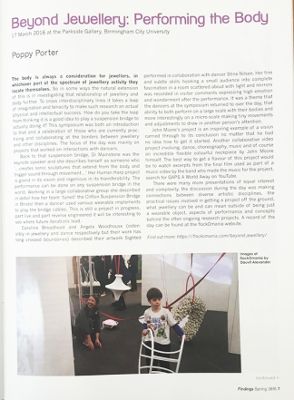 Beyond Jewellery -performing the body - ACJ - Asscociation for contemporary jewellery - Findings magazine - Zoe Robertson + Sian Hindle + Natalie Garret Brown