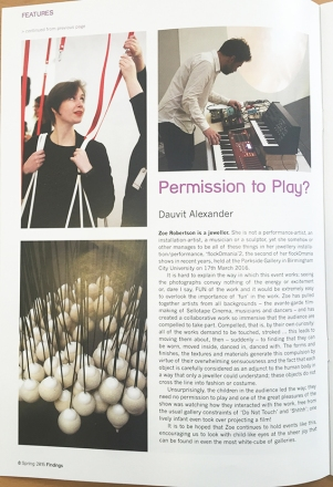 permission to play - Dauvit Alexander findings magazine - ACJ - Asscociation for contemporary jewellery - Zoe Robertson - flockOmania